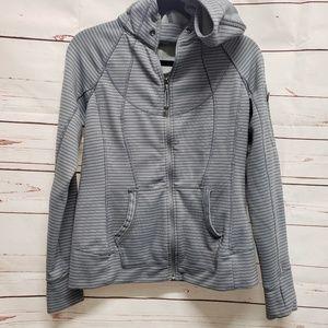 Athleta striped strength zip jacket hoodie small